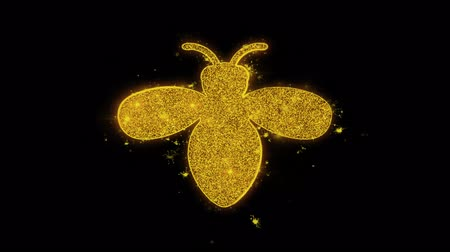 katicabogár : Bug, insect, nature, wasp Icon Sparks Glitter Particles on Black Background. Shape, Design, Text, Element, Symbol Alpha Channel 4K Loop.