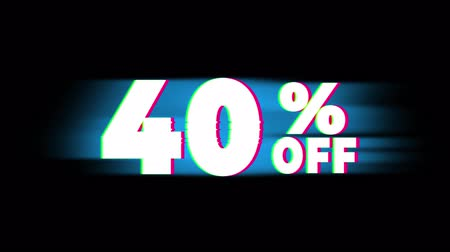 čtyřicátá léta : 40% Percent Off Text Glitch Effect Promotion Advertisement Loop Background. Price Tag, Sale, Discounts, Deals, Special Offers, Green Screen and Alpha Matte