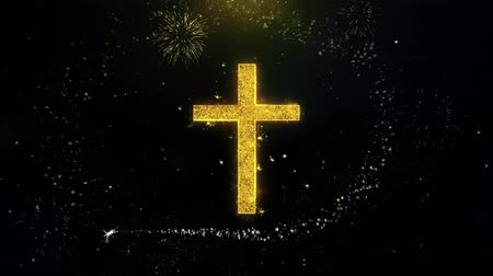 baptism : Church Cross Christianity Religion Icon on Gold Glitter Particles Spark Exploding Fireworks Display . Object, Shape, Text, Design, Element, Symbol 4K Animation. Stock Footage