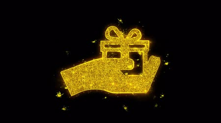 kerstpakket : Birthday, box, gift, giftbox, hand, give Icon Sparks Glitter Particles on Black Background. Shape, Design, Text, Element Symbol Alpha Channel 4K Loop