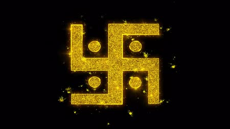 puja : Hindu, holy, indian, religion, swastika, swastika Icon Sparks Glitter Particles on Black Background. Shape, Design, Text, Element Symbol Alpha Channel 4K Loop