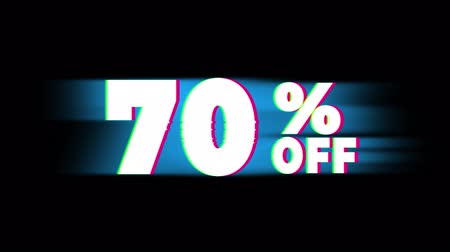 dnes : 70% Percent Off Text Glitch Effect Promotion Advertisement Loop Background. Price Tag, Sale, Discounts, Deals, Special Offers, Green Screen and Alpha Matte