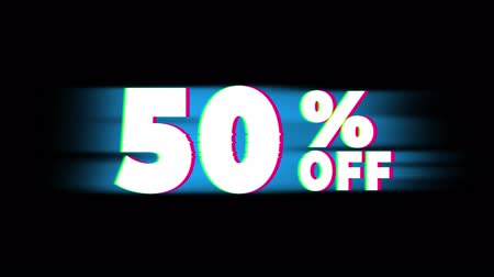 hétfő : 50% Percent Off Text Glitch Effect Promotion Advertisement Loop Background. Price Tag, Sale, Discounts, Deals, Special Offers, Green Screen and Alpha Matte Stock mozgókép