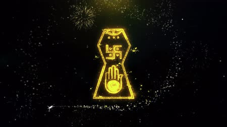 beyin : Jain hand. Ahimsa Indian, jainisms, hindu religious Icon on Gold Glitter Particles Spark Exploding Fireworks Display . Object, Shape, Text, Design, Element, Symbol 4K Animation.