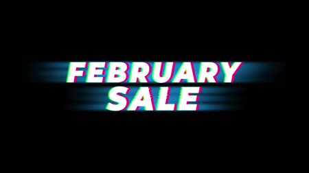 speciális : February Sale Text Vintage Glitch Effect Promotion Advertisement Loop Background. Tag, Sale, Discounts, Deals, Special Offers, Green Screen and Alpha Matte