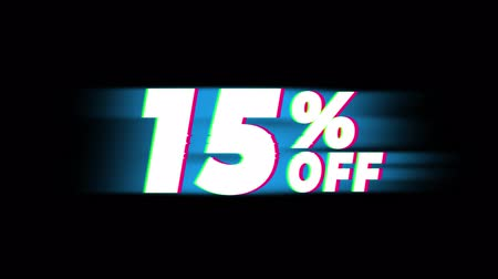 save : 15% Percent Off Text Glitch Effect Promotion Advertisement Loop Background. Price Tag, Sale, Discounts, Deals, Special Offers, Green Screen and Alpha Matte