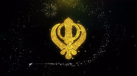 címer : Khanda, religion, religious symbol, sikhism Icon on Gold Glitter Particles Spark Exploding Fireworks Display . Object, Shape, Text, Design, Element, Symbol 4K Animation.
