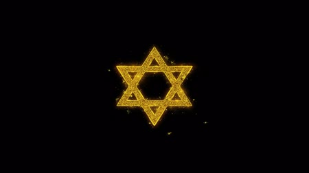 hebräisch : David The Jewish Star Religion-Symbol auf Glitzer-Goldpartikel-Effekt-Feuerwerk. Objekt, Form, Text, Design, Element, Symbol 4K Animation.