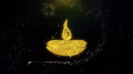 テキストスペース : Diwali, diwali diya, diwali lamp, diya Icon on Gold Glitter Particles Spark Exploding Fireworks Display . Object, Shape, Text, Design, Element, Symbol 4K Animation. 動画素材