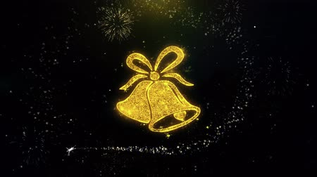 skarpetki : Christmas Ribbon Bow Bells Icon on Gold Glitter Particles Spark Exploding Fireworks Display . Object, Shape, Text, Design, Element, Symbol 4K Animation. Wideo