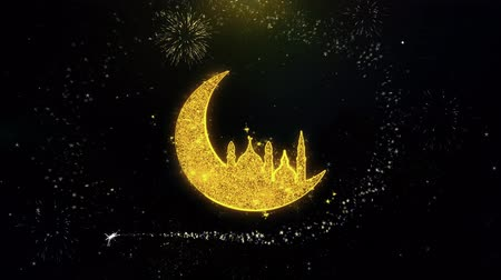 félhold : Islamic mosque Moon ramadan Icon on Gold Glitter Particles Spark Exploding Fireworks Display . Object, Shape, Text, Design, Element, Symbol 4K Animation.