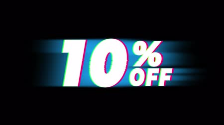 vybírání : 10% Percent Off Text Glitch Effect Promotion Advertisement Loop Background. Price Tag, Sale, Discounts, Deals, Special Offers, Green Screen and Alpha Matte