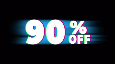 hoje : 90% Percent Off Text Glitch Effect Promotion Advertisement Loop Background. Price Tag, Sale, Discounts, Deals, Special Offers, Green Screen and Alpha Matte