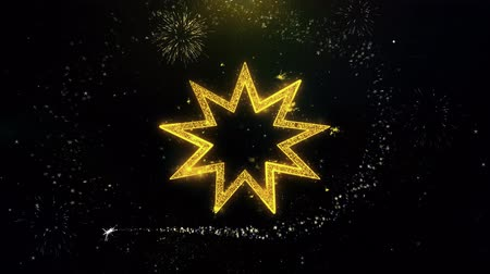 persie : Bahai Nine pointed star Bahaism Icon on Gold Glitter Particles Spark Exploding Fireworks Display . Object, Shape, Text, Design, Element, Symbol 4K Animation. Dostupné videozáznamy