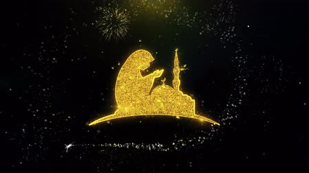 hieróglifo : Dua,namaz,praying,islam,islamic Icon on Gold Glitter Particles Spark Exploding Fireworks Display . Object, Shape, Text, Design, Element Symbol 4K Animation Stock Footage