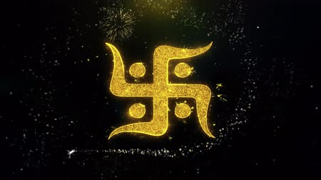 sanskrit : Hindu, holy, indian, religion, swastika, swastika Icon on Gold Glitter Particles Spark Exploding Fireworks Display . Object, Shape, Text, Design, Element Symbol 4K Animation Stock Footage