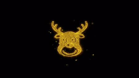 kardan adam : Christmas Reindeer Xmas Deer Icon on Glitter Golden Particles Effect Firework. Object, Shape, Text, Design, Element, symbol 4K Animation. Stok Video