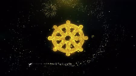 felvilágosodás : Wheel of Dharma Buddhism religion Icon on Gold Glitter Particles Spark Exploding Fireworks Display . Object, Shape, Text, Design, Element, Symbol 4K Animation.