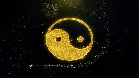 daoism : Yin Yang Taoism buddhism daoism religion Icon on Gold Glitter Particles Spark Exploding Fireworks Display . Object, Shape, Text, Design, Element, Symbol 4K Animation. Stock Footage