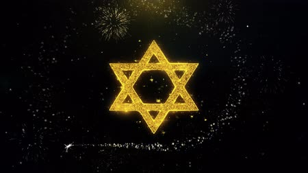 hebräisch : David The Jewish Star Religion-Symbol auf Goldglitzer-Partikel-Funken, der Feuerwerk explodiert. Objekt, Form, Text, Design, Element, Symbol 4K-Animation.