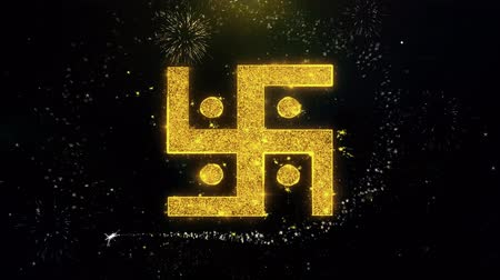 motívum : Hindu, holy, indian, religion, swastika, swastika Icon on Gold Glitter Particles Spark Exploding Fireworks Display . Object, Shape, Text, Design, Element Symbol 4K Animation Stock mozgókép