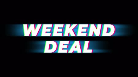 erkeklere özel : Weekend Deal Text Glitch Effect Promotion Commercial Loop Background. Price Tag, Sale, Discounts, Deals, Special Offers, Green Screen and Alpha Matte
