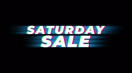 hoje : Saturday Sale Text Vintage Glitch Effect Promotion Advertisement Loop Background. Tag, Sale, Discounts, Deals, Special Offers, Green Screen and Alpha Matte