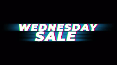 metka : Wednesday Sale Text Vintage Glitch Effect Promotion Advertisement Loop Background. Tag, Sale, Discounts, Deals, Special Offers, Green Screen and Alpha Matte Wideo