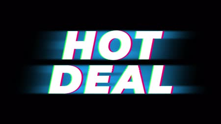 értékesítés : Hot Deal Text Glitch Effect Promotion Advertisement Loop Background. Price Tag, Sale, Discounts, Deals, Special Offers, Green Screen and Alpha Matte Stock mozgókép