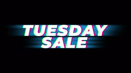úterý : Tuesday Sale Text Vintage Glitch Effect Promotion Advertisement Loop Background. Tag, Sale, Discounts, Deals, Special Offers, Green Screen and Alpha Matte Dostupné videozáznamy