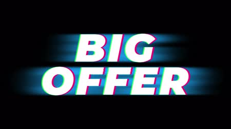cupom : Big Offer Text Glitch Effect Promotion Advertisement Loop Background. Price Tag, Sale, Discounts, Deals, Special Offers, Green Screen and Alpha Matte Vídeos