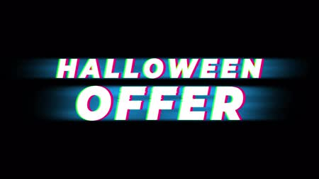 fruit bat : Halloween Offer Text Glitch Effect Promotion Commercial Loop Background. Price Tag, Sale, Discounts, Deals, Special Offers, Green Screen and Alpha Matte Stock Footage