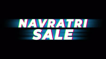 bengália : Navratri Sale Text Glitch Effect Promotion Commercial Loop Background. Price Tag, Sale, Discounts, Deals, Special Offers, Green Screen and Alpha Matte Stock mozgókép