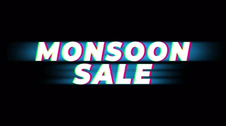 bengálsko : Monsoon Sale Text Glitch Effect Promotion Commercial Loop Background. Price Tag, Sale, Discounts, Deals, Special Offers, Green Screen and Alpha Matte