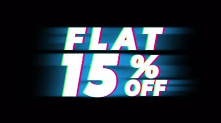 metà prezzo : Flat 15% Percent Off Text Glitch Effect Promotion Advertisement Loop Background. Price Tag, Sale, Discounts, Deals, Special Offers, Green Screen and Alpha Matte Filmati Stock