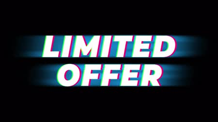 ограничен : Limited Offer Text Glitch Effect Promotion Advertisement Loop Background. Price Tag, Sale, Discounts, Deals, Special Offers, Green Screen and Alpha Matte Стоковые видеозаписи