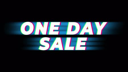 çıkartmalar : One Day Sale Text Glitch Effect Promotion Advertisement Loop Background. Price Tag, Sale, Discounts, Deals, Special Offers, Green Screen and Alpha Matte