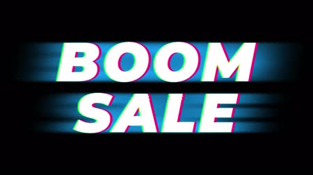 wybuch : Boom Sale Text Glitch Effect Promotion Advertisement Loop Background. Price Tag, Sale, Discounts, Deals, Special Offers, Green Screen and Alpha Matte