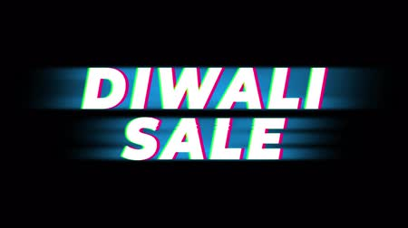 erkeklere özel : Diwali Sale Text Glitch Effect Promotion Commercial Loop Background. Price Tag, Sale, Discounts, Deals, Special Offers, Green Screen and Alpha Matte