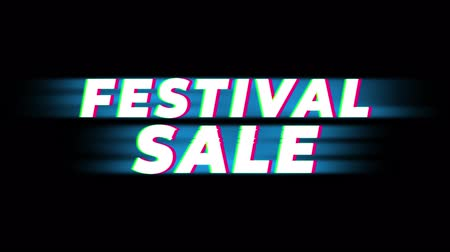 cinquantenne : Festival Sale Text Glitch Effect Promotion Commercial Loop Background. Price Tag, Sale, Discounts, Deals, Special Offers, Green Screen and Alpha Matte Filmati Stock