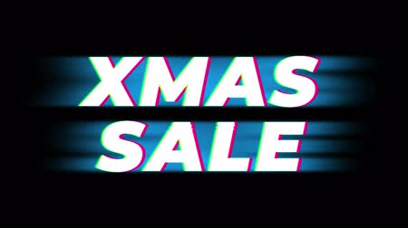 értékesítés : Xmas Sale Text Glitch Effect Promotion Advertisement Loop Background. Price Tag, Sale, Discounts, Deals, Special Offers, Green Screen and Alpha Matte