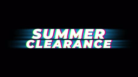 celkový : Summer Clearance Text Vintage Glitch Effect Promotion Advertisement Loop Background. Tag, Sale, Discounts, Deals, Special Offers, Green Screen and Alpha Matte