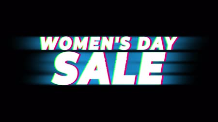 eight : Womens Day Sale Text Glitch Effect Promotion Advertisement Loop Background. Price Tag, Sale, Discounts, Deals, Special Offers, Green Screen and Alpha Matte Stock Footage