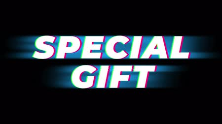 cupom : Special Gift Text Glitch Effect Promotion Advertisement Loop Background. Price Tag, Sale, Discounts, Deals, Special Offers, Green Screen and Alpha Matte