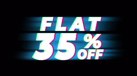 desconto : Flat 35% Percent Off Text Glitch Effect Promotion Advertisement Loop Background. Price Tag, Sale, Discounts, Deals, Special Offers, Green Screen and Alpha Matte