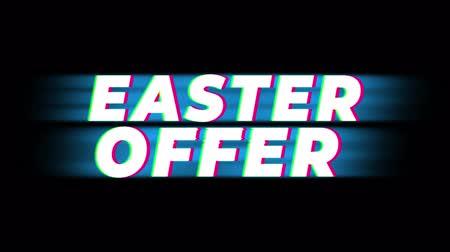 nyuszi : Easter Offer Text Glitch Effect Promotion Commercial Loop Background. Price Tag, Sale, Discounts, Deals, Special Offers, Green Screen and Alpha Matte