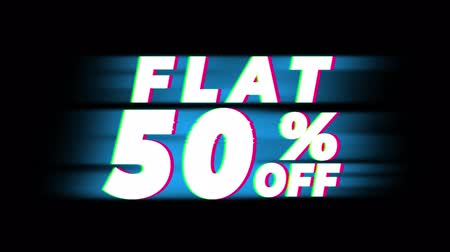 hoje : Flat 50% Percent Off Text Glitch Effect Promotion Advertisement Loop Background. Price Tag, Sale, Discounts, Deals, Special Offers, Green Screen and Alpha Matte