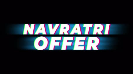 vallási : Navratri Offer Text Glitch Effect Promotion Commercial Loop Background. Price Tag, Sale, Discounts, Deals, Special Offers, Green Screen and Alpha Matte Stock mozgókép