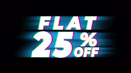 erkeklere özel : Flat 25% Percent Off Text Glitch Effect Promotion Advertisement Loop Background. Price Tag, Sale, Discounts, Deals, Special Offers, Green Screen and Alpha Matte