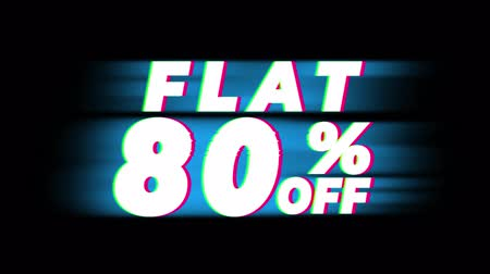 неделя : Flat 80% Percent Off Text Glitch Effect Promotion Advertisement Loop Background. Price Tag, Sale, Discounts, Deals, Special Offers, Green Screen and Alpha Matte Стоковые видеозаписи
